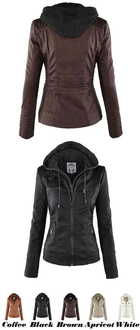 Women's Winter PU Leather Jacket Fashion Fall Winter Faux Leather Detachable Fake Two-piece Hood Zipper Jackets Coat for big sale! #coat #jacket #fashion