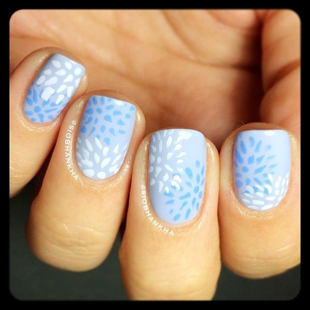 Baby blue leaf it out nails - Instagram photo by siobhankha #nail #nails #nailart...x