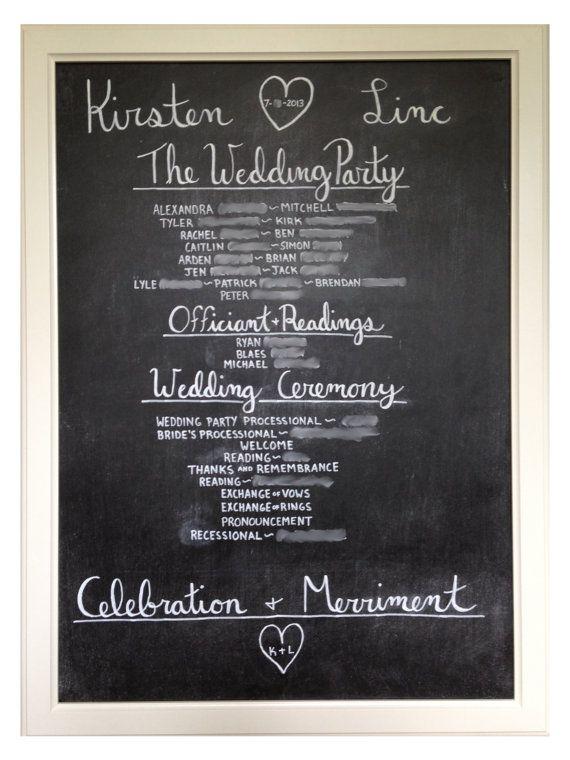 Wedding Program Chalkboard by DogwoodDays on Etsy, $75.00