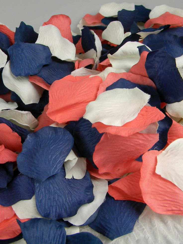Coral Blue And Ivory Rose Petals | 200 Artificial Petals | Coral U0026 Navy  Wedding |