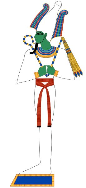 Osiris.  A god of the earth and vegetation, Osiris symbolized in his death the yearly drought and in his miraculous rebirth the periodic flooding of the Nile and the growth of grain. He was a god-king who was believed to have given Egypt civilization.Osiris was usually portrayed as a bearded, mummified human with green skin and wearing the atef crown. His hands emerge from the mummy wrappings and hold the flail and crook.