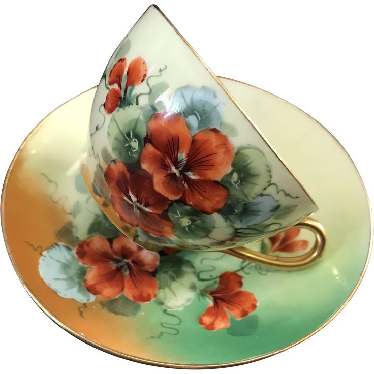 Signed by Artist, J.H. Stouffer Hand Painted Cup and Saucer Set, Nasturtiums, O & EG Royal Austria