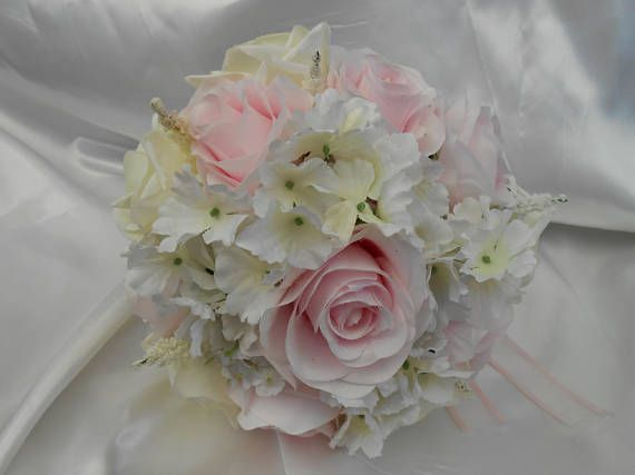 silk wedding bouquet bridal bouquet pink silk roses silk ivory