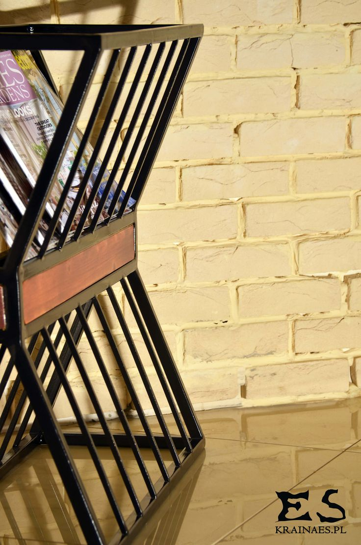 Newspaper holder, press, newspaper, magazine rack, iron, metal, metalowa konstrukcja, industrial, gazetnik, prasa, Ed, Kraina ES #newspaperholder, #newspaper, #minimalism