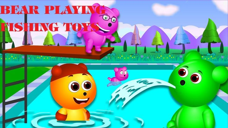 bear playing fishing toys colors finger nursery rhymes for children Gumm...