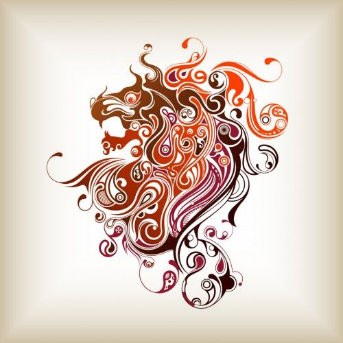 Abstract Lion With Yin Yang