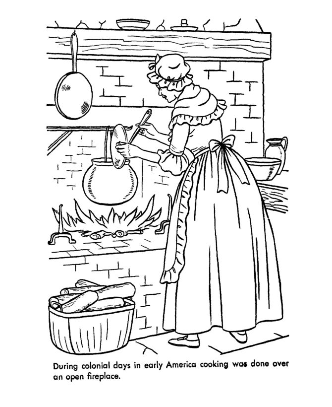 early american home life coloring page