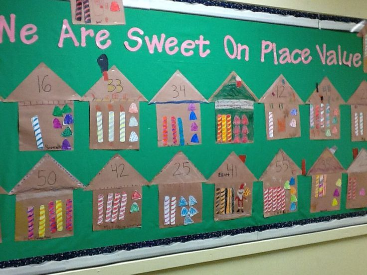 place value gingerbread house bulletin board