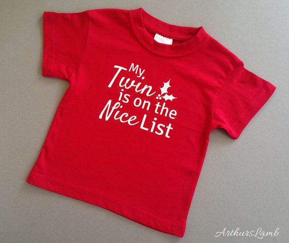 Nice List Twins Christmas T Shirt,Twin Baby Clothes,Twins Outfits,Twins Gifts,Gifts for Twins,Christmas Gift Idea,Christmas Shirt,Sibling