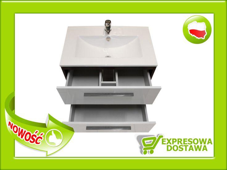 >< BIAŁA szafka umywalka ceramiczna 60-62 LE