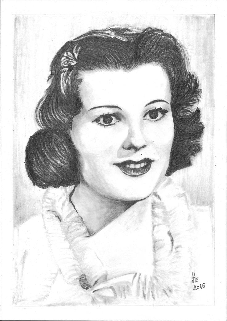 Pencil drawing portrait Turay Ida by Erika Székesvári https://www.facebook.com/ercziart/
