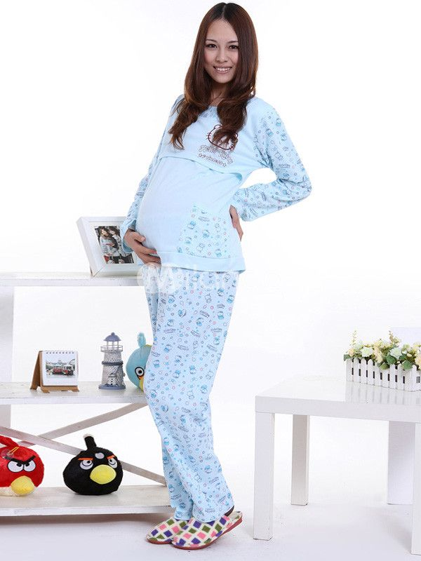 Blue Printing Cotton Maternity Sleepwear - #maternity #fashion