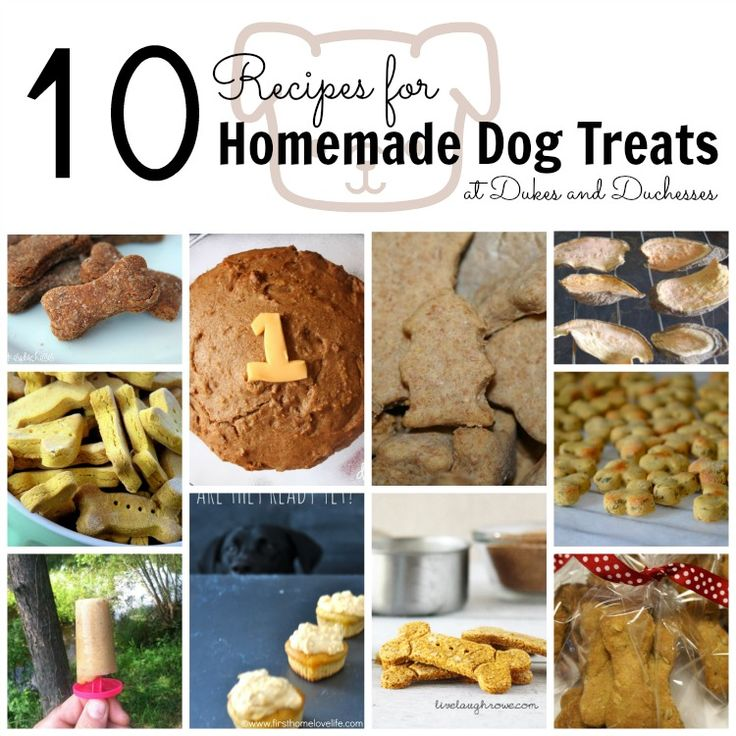 10 Recipes for Homemade Dog Treats - Dukes  Duchesses http://dukesandduchesses.com/2013/09/homemade-dog-treats
