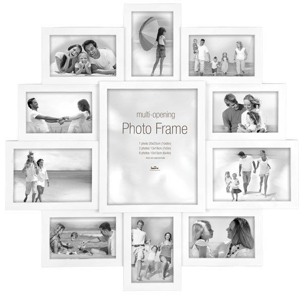 Maggiore XXI Multi Photo Frame - White - The Maggiore XXI Multi Photo Frame in white is a stunning multi photo frame, with ten photos surrounding one larger aperture. Your attention is immediately drawn to the central snap, so make sure it