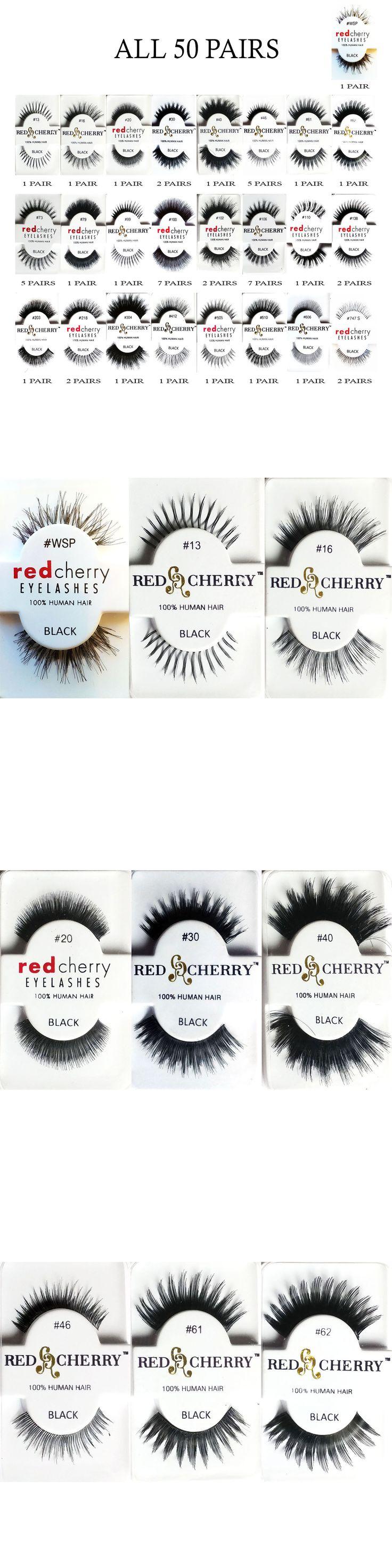 False Eyelashes and Adhesives: 50 Pairs Black Lashes Red Cherry Authentic Human Hair False Eyelashes -> BUY IT NOW ONLY: $59.98 on eBay!