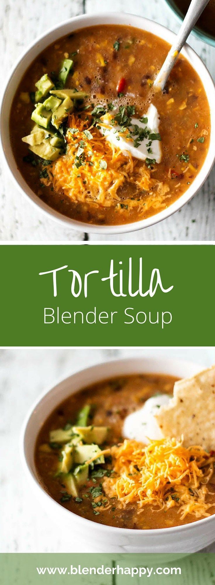 Tortilla blender soup made fresh in under ten minutes. Top it off with all of your favourite ingredients. Swap out the cheese and sour cream for a vegan option.