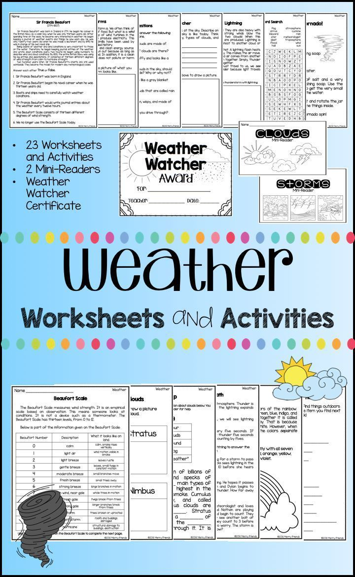 Weather Worksheets and Activities 23 Worksheets