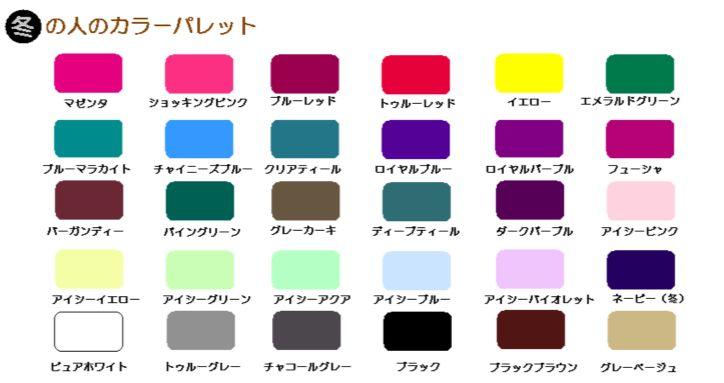 冬カラーパレット|パーソナルカラー診断(大阪)スタジオマイン