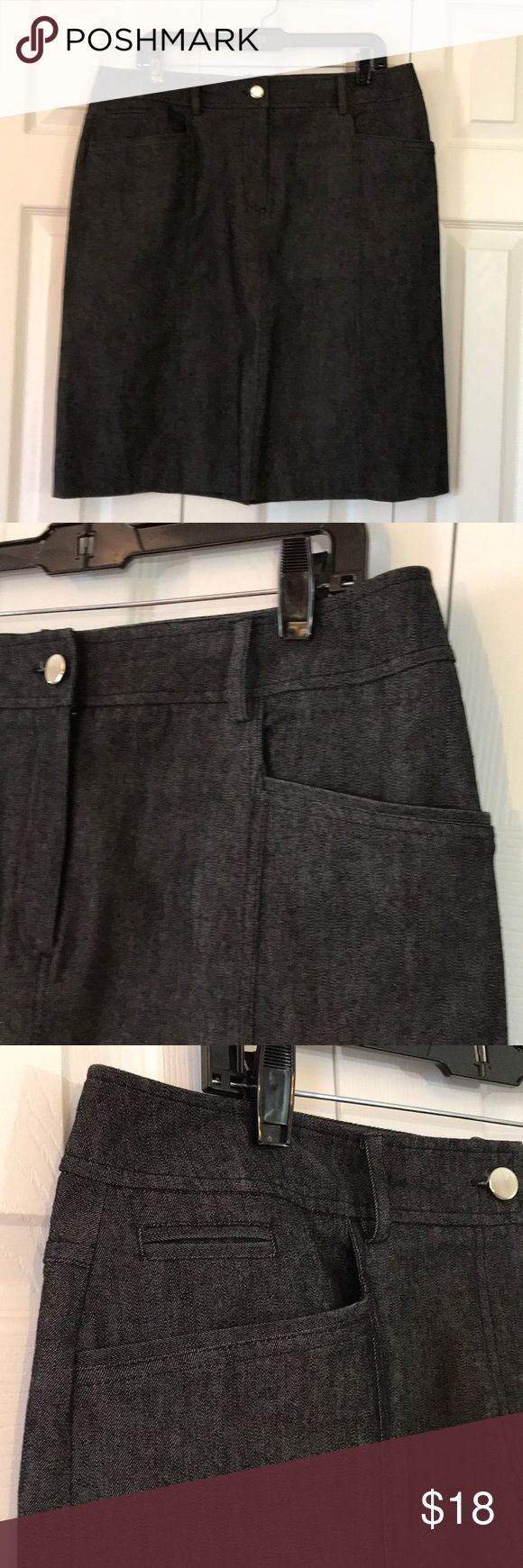 Denim Skirt Women size 14 denim sportswear skirt. One button front with zipper. Two front and two back pockets with back kick split. 77% cotton, 20% polyester and 3% elastane. Wear with boots, booties, heels and sandals. Four season chic! Sandro Skirts