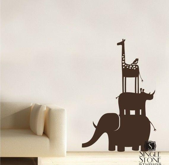 Kids Wall Decals Animal Safari Stack  Vinyl by singlestonestudios, $38.00