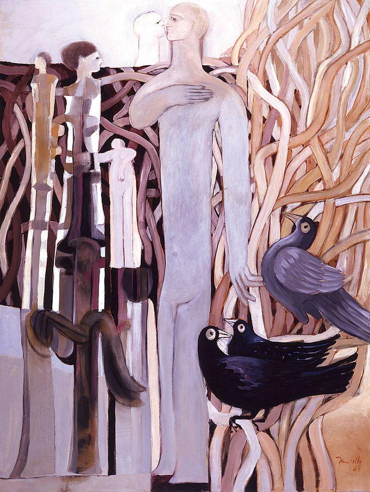 Nichos con pájaros // Guillermo Trujillo // Panamá // Oleo sobre lienzo //  1985 // Colección Fundación Museo Bolivariano de Arte Contemporáneo