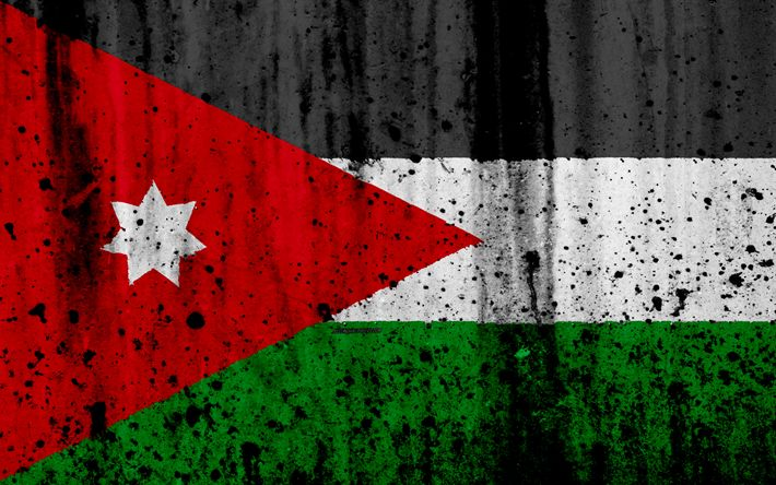 Download wallpapers Jordan flag, 4k, grunge, flag of Jordan, Asia, Jordan, national symbols, Jordan national flag