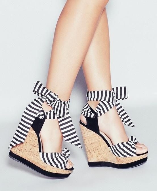 #Ladies #Black & #White #Stripe #Wedge #Heels #Love