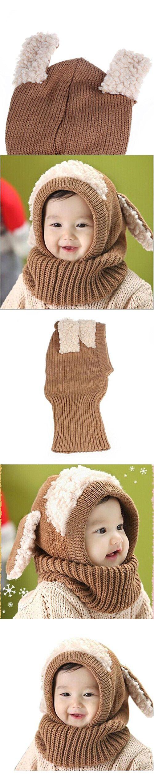 Winter Baby Kids Caps, Misaky Warm Woolen Coif Hood Scarf Hats (Free Size, Khaki)