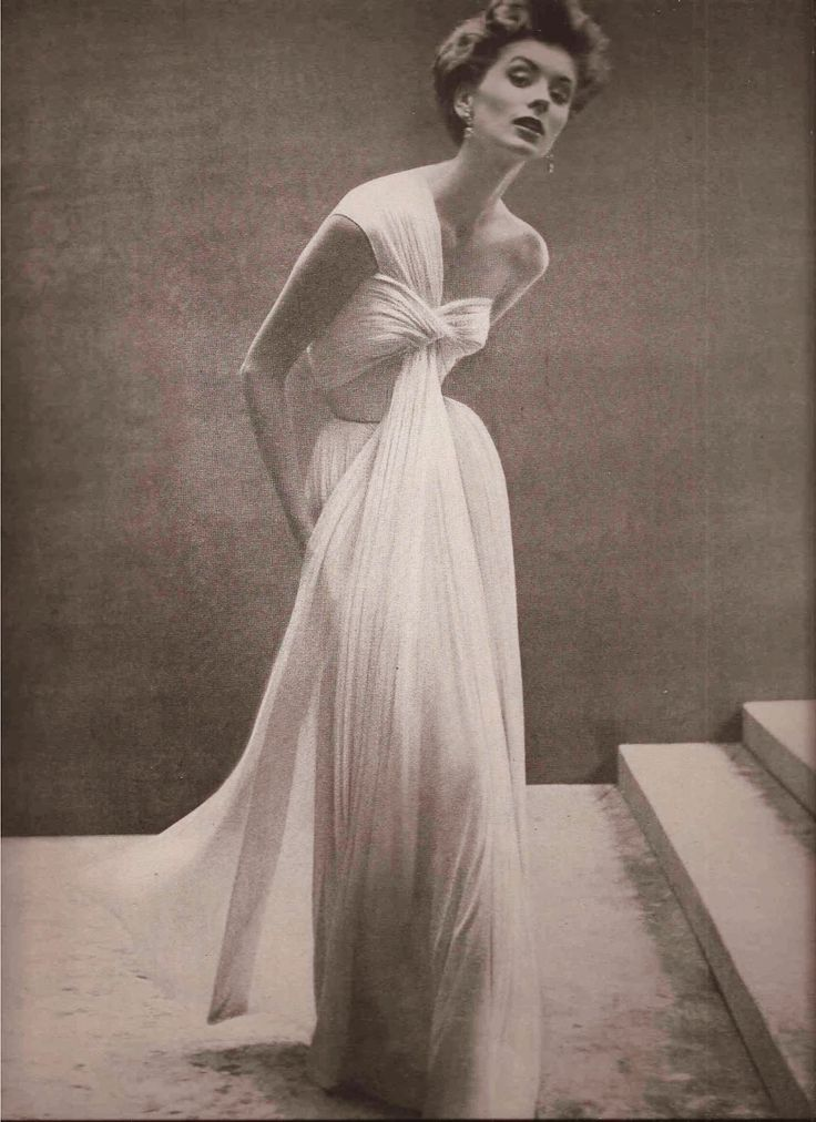 Stunning Grecian style gown!  Madame Gres, 1952 Women's vintage fashion photography designer clothing