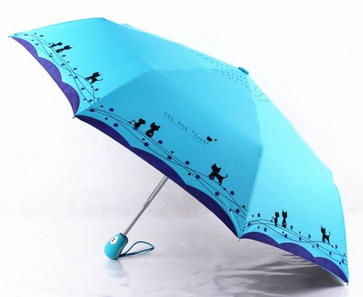Cute cat and flower three-folding automatic umbrella