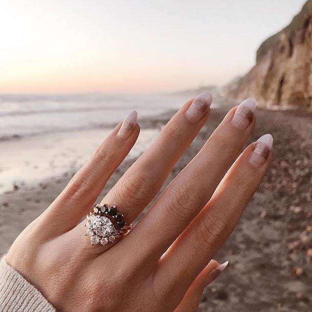 White Diamond Black Diamond Wedding Stack Inspo Marrow Fine Jewelr Gemstone Engagement Rings White Gold Sapphire Engagement Rings Diamond Wedding Band Sets