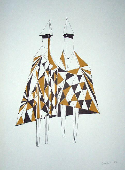 Lynn Chadwick print: Checkmates, 1972