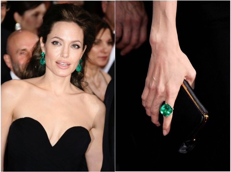 At the #Oscars in 2009 Angelina Jolie wore a pair of Columbian Emerald #earrings and a matching ring worth $3.5million #wow #oscarsfashion #oscarjewelry #fashion #emeralds