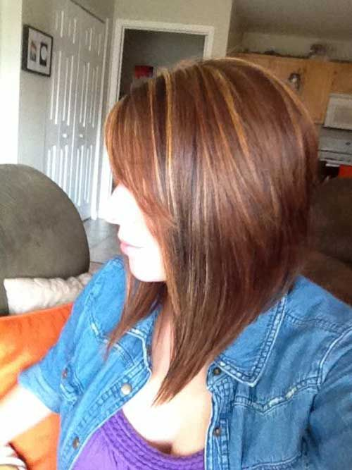 Brown Hair Long Inverted Bob