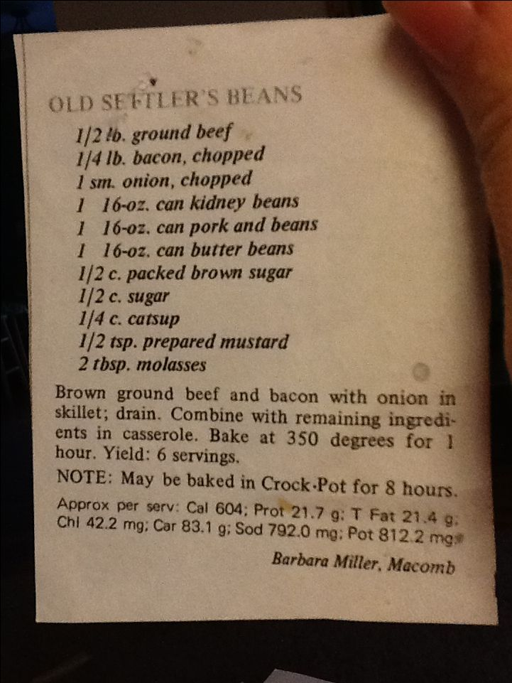 Old settlers beans- I add 1 can of baked beans and cook this in a skillet in the oven!  So delicious!!