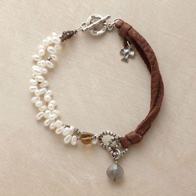 Bracelet #leather #pearl #silver #bracelet #jewelry
