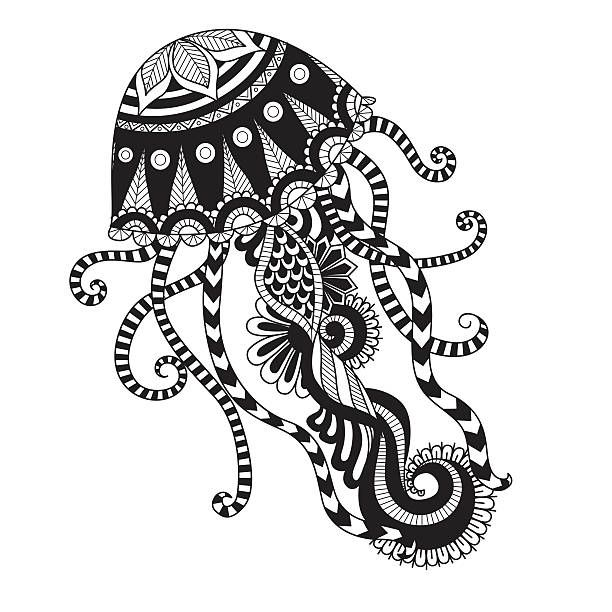 Hand Drawn Jellyfish For Coloring Page Logo T Shirt Design Effect Stammeszeichnungen Malvorlagen Tiere Mandala Ausmalen