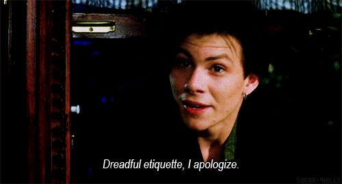 """Dreadful etiquette, I apologize."" Christian Slater in Heathers"