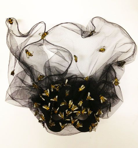 Embroidered bee mask for elephant family charity masked