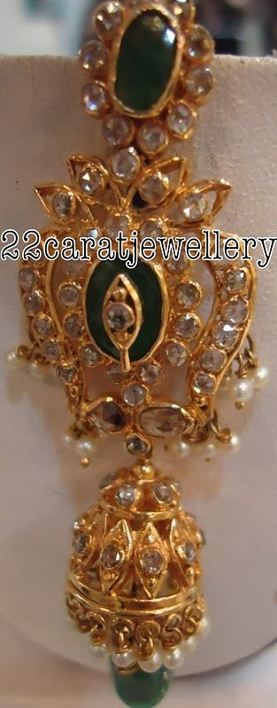 Jewellery Designs: Uncut Diamond Jumki by Premraj Jewellers