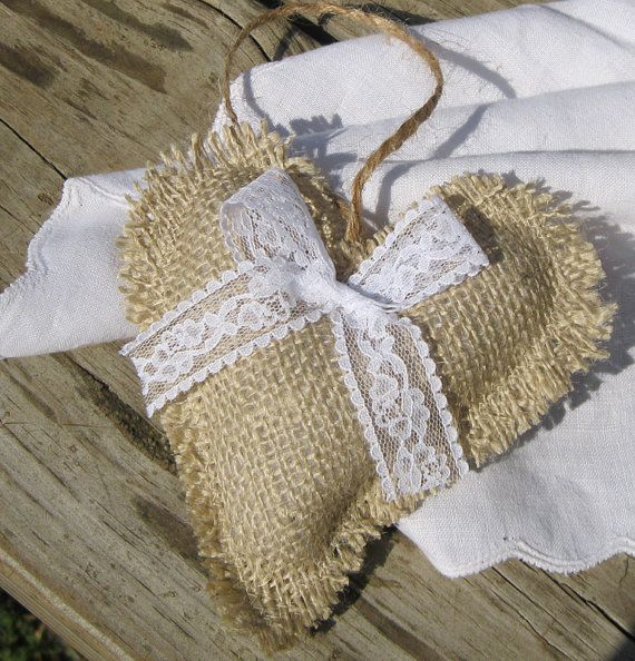 Rustic burlap and lace heart ornaments  set of 2 by SplendidEvents, $5.00