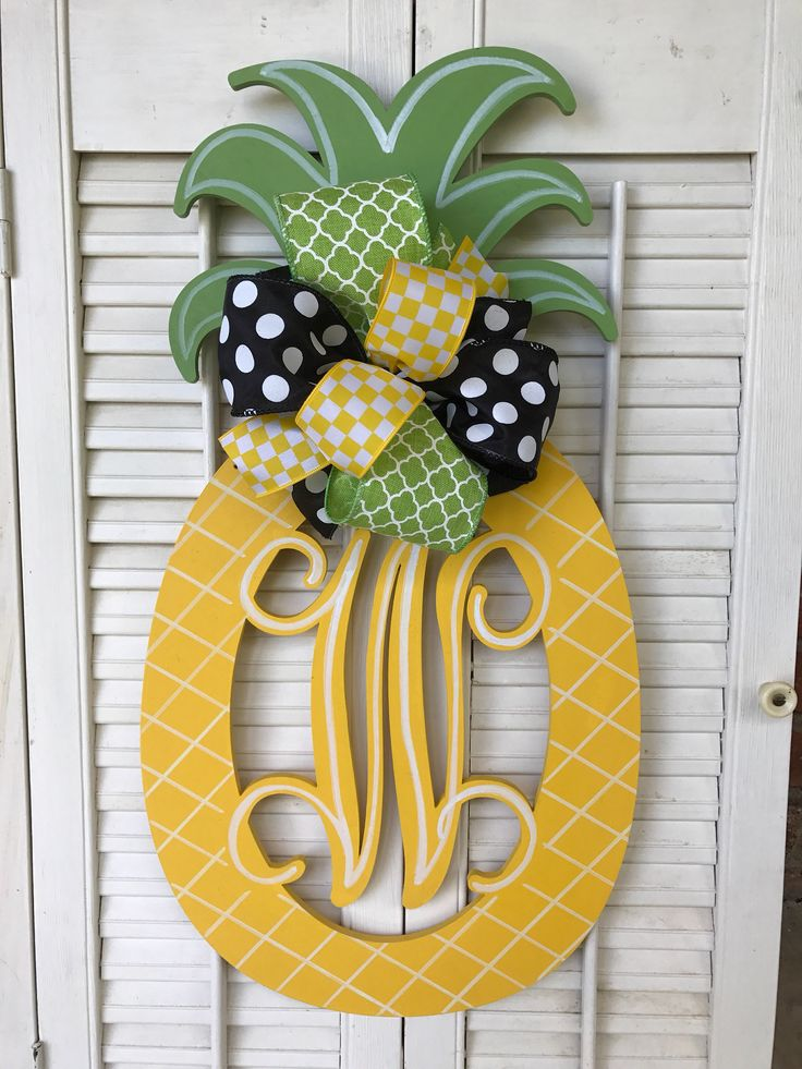 Pineapple Monogram Door Hanger Bright Yellow Pineapple Decor Black Green Pineapple Welcome Decor Pineapple Door Hanger Monogram Wedding Gift by Underthekentuckysun on Etsy https://www.etsy.com/listing/539606925/pineapple-monogram-door-hanger-bright