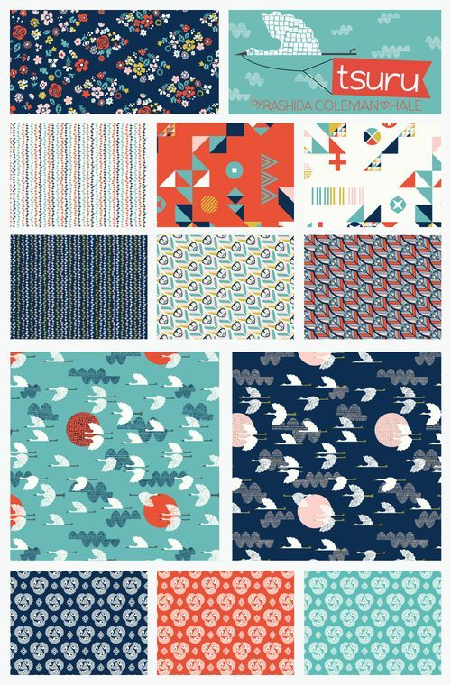 I NEED this collection - A sneak peek of Tsuru by Rhashida Coleman Hale for Cloud9 Fabrics