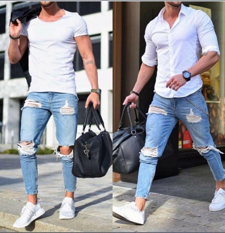 Slim Pour Hommes Jeans Trou Clair Mode Homme Jeans Mode Mecs