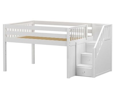 Maxtrix PERFECT Low Loft Bed with Stairs Full Size White