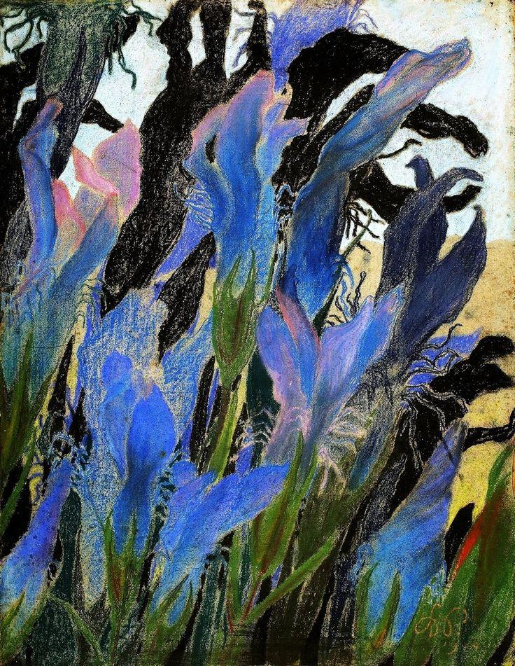 """Stanisław Wyspiański (Polish, 1869-1907), Irises, 1904. Pastel on paper """""""