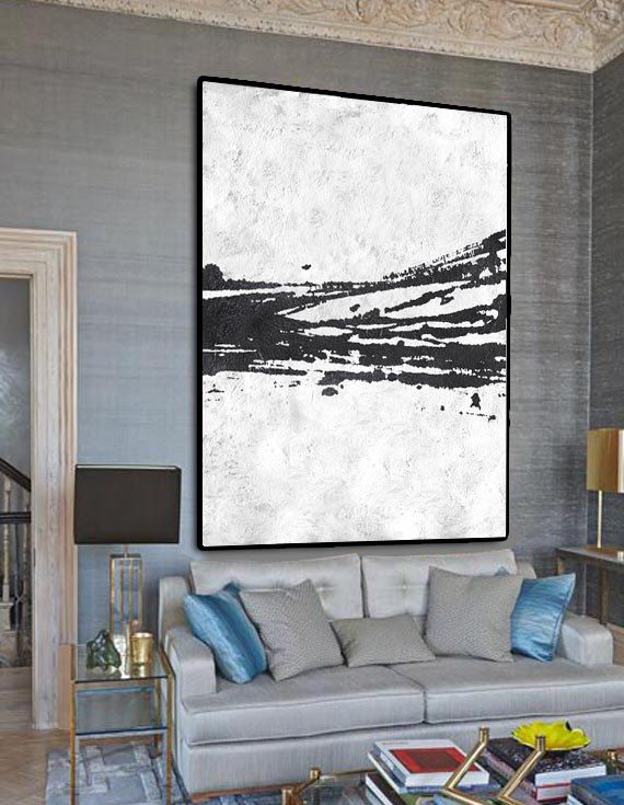 Extra Large Painting On Canvas Textured Art Black And White Original