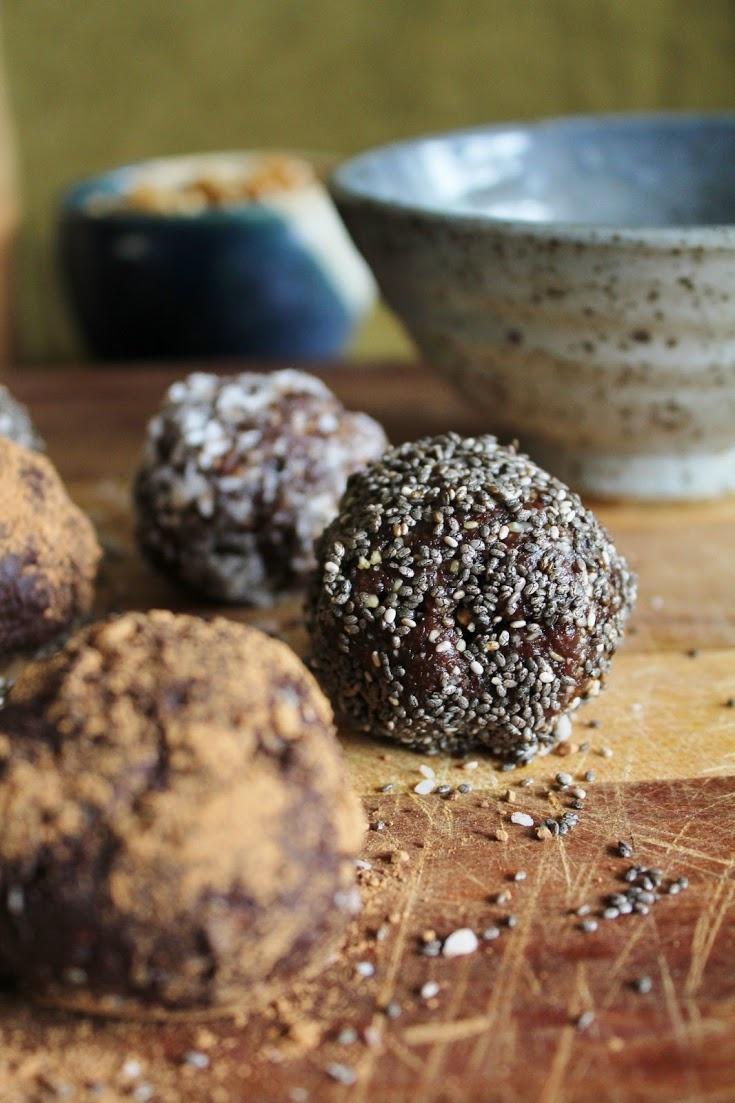 raw vegan walnut bliss balls with chia, coconut + carob