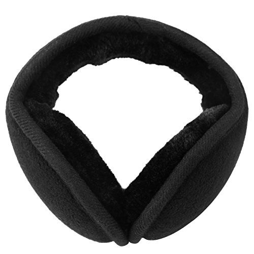 MOCOFO Classic Fleece Ear Muffs Collapsible Behind-The-Head Ear Warmers for Women and Men (Black)