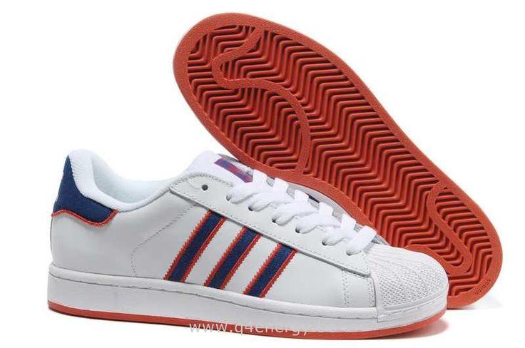 Hommes Adidas Superstar II Cuir Blanc Bleu Rouge Profond